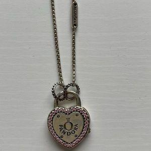 Pandora Lock Your Promise Necklace Fancy Pink CZ